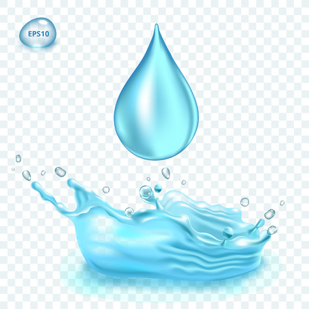Transparent vector water splash and water drop on light background Imagens - 103539908