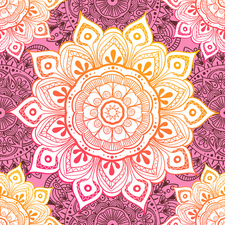 Seamless ethnic pattern with floral motives. Mandala stylized print template for fabric and paper. Boho chic design. Summer fashion. 向量圖像