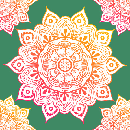 Seamless ethnic pattern with floral motives. Mandala stylized print template for fabric and paper. Boho chic design. Summer fashion. Illustration