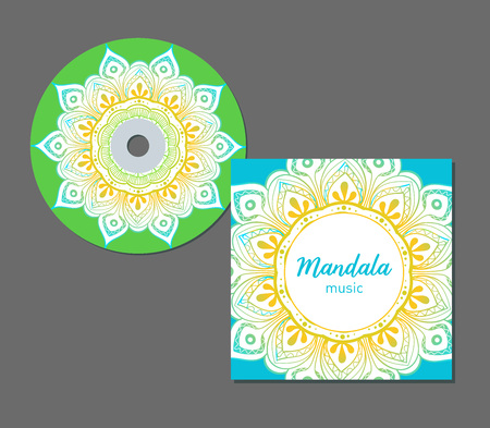 CD cover design template with floral mandala style. Arabic, indian, pakistan, asian motif. Vector illustration. Vectores