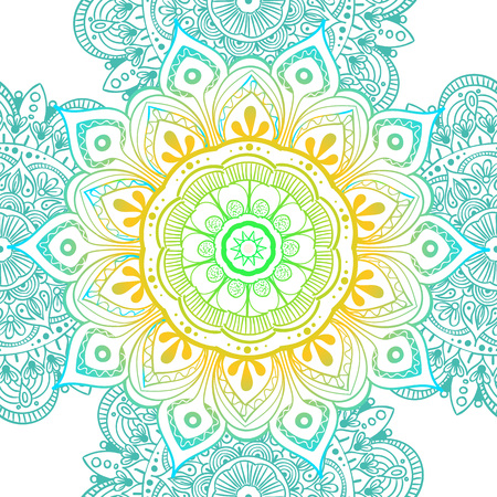 Seamless ethnic pattern with floral motives. Mandala stylized print template for fabric and paper. Boho chic design. Summer fashion. Vector illustration