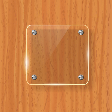Transparent glass plate mock up. Yellow wooden background. Decorative graphic design element. Plastic glossy panel with reflection, shadow. Realistic vector illustration