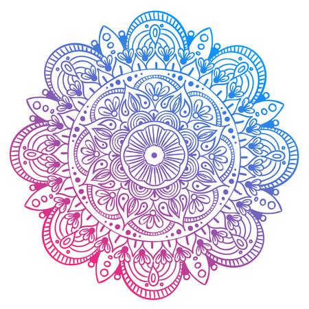 Mandala Vector ontwerpelement. Ronde ornamentdecoratie. Kleurrijk bloemenpatroon. Gestileerd bloemenmotief. Complex bloeien medaillon. Tattoo afdrukken