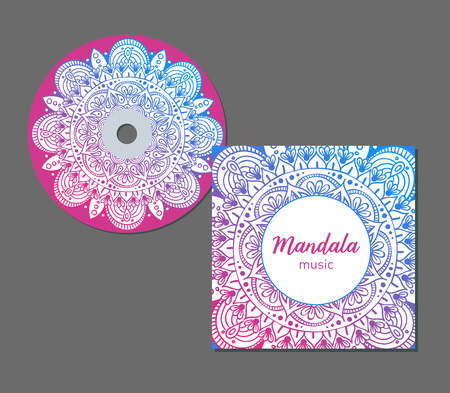 Vector illustration of CD cover design template with floral mandala style. Arabic, indian, pakistan, asian motif.