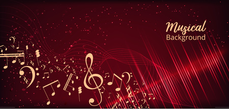 Abstract Background with Music notes. Vector Illustration