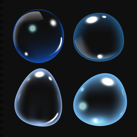Bubbles under water on isolated on black background. Soap bubbles. vector illustration