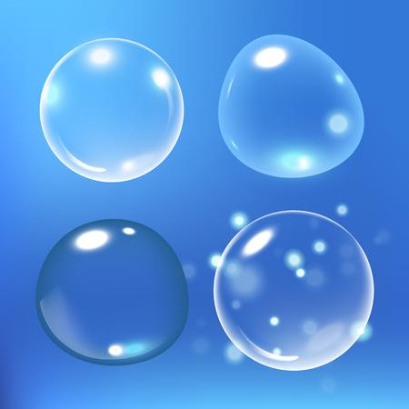 Bubbles under water on blue background. Soap bubbles. vector illustration