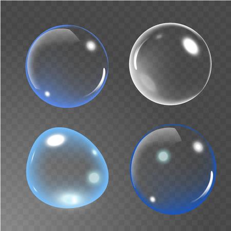 Bubbles under water on transparent background. Soap bubbles. vector illustration