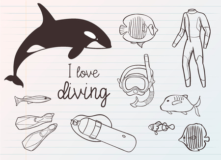 Diving icon doodle set. Underwater. Sea and ocean adventure. Summertime. Kids drawing. Doodle image. Cartoon creatures. Vector illustration