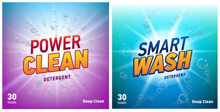concepto creativo de detergente para ropa conjunto de plantillas de diseño de envases