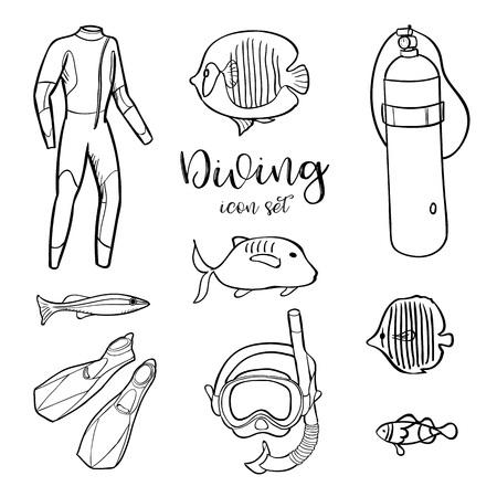 Tauchen Symbol Doodle-Set. Unterwasser. Abenteuer Meer und Meer. Sommer. Kinder zeichnen. Doodle-Bild. Cartoon-Kreaturen. Vektor-Illustration