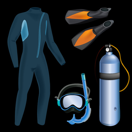 Realistic snorkeling and scuba diving set of elements. Scuba-diving gear isolated. Diver wetsuit, scuba mask, snorkel, fins, regulator dive icons. Çizim