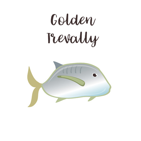 Golden trevally vector realistic style illustration. Sea fish cartoon