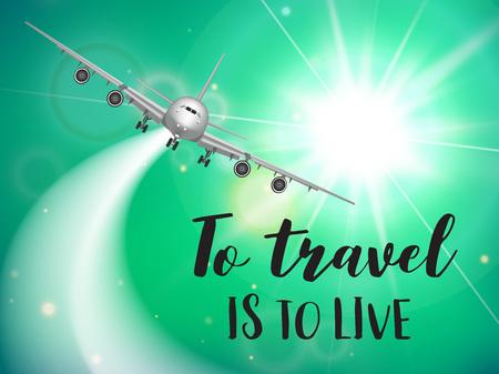 Flyer de voyage avec avion réaliste et texte conçu. Badge. modèle de conception publicitaire. Illustration vectorielle Vecteurs