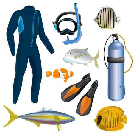 Realistisches Schnorchel- und Tauchset von Elementen. Tauchausrüstung isoliert. Taucheranzug, Tauchmaske, Schnorchel, Flossen, Tauchersymbole. Fisch.
