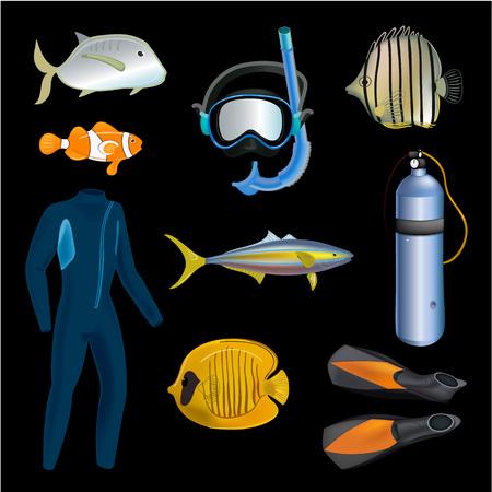 Realistic snorkeling and scuba diving set of elements. Scuba-diving gear isolated. Diver wetsuit, scuba mask, snorkel, fins, regulator dive icons. Fish.
