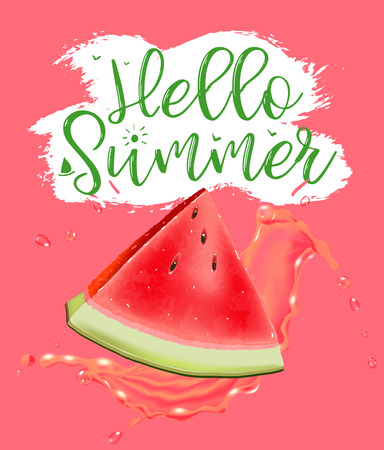 lettering hello summer. Poster. Badge. Advertising template. Realistic Juice splash. Watermelon vector print  イラスト・ベクター素材