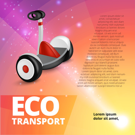 Vector realistic style illustration for posters, banner, advertising. Segway on abstract background. Advertising banner template