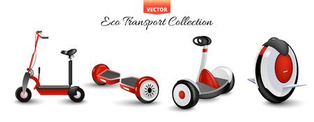 Patinete mono rueda aislado. Equilibrar bicicletas. Diferentes scooters eco transporte urbano alternativo. Bicicleta realista y ruedas rodantes. Giroscopio de ciclo de empuje. Kick scooter y segway monorrueda. Ilustración de vector