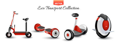 Scooter à roulettes isolé à roue mono. Vélos d'équilibre. Différents scooters éco transports urbains alternatifs. Roues de vélo et de roulement réalistes. Gyroscooter à cycle poussé. Trottinette et segway monoroue. Vecteurs