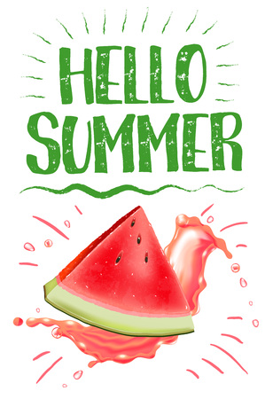 lettering hello summer. Poster. Badge. Advertising template. Realistic Juice splash. Watermelon vector print 일러스트