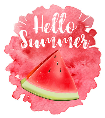 lettering hello summer. Poster. Badge. Advertising template. Realistic Juice splash. Watermelon vector print Illustration