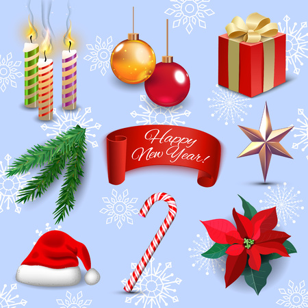 Christmas new year holiday decoration realistic icons set isolated vector illustration Çizim