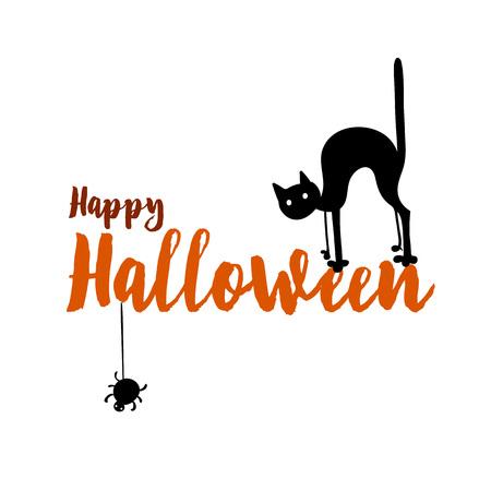 Happy halloween party title logo template. Spider and web, cat Illusztráció