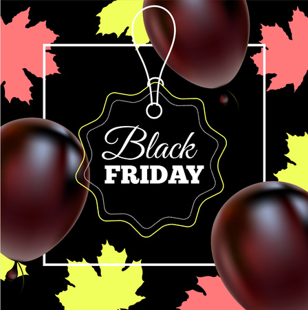 Black Friday Sale Poster with Shiny Balloons on Black Background with Square Frame. Vector illustration.