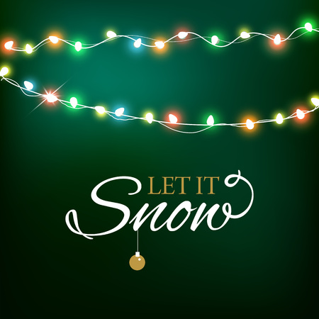 Abstract background for Merry Christmas or Happy New Year Card with Christmas lights and snowflakes. Vector illustration Illustration