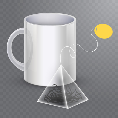 Vector image of a tea bag with the cup