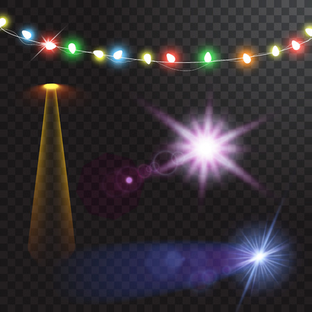 Abstract creative christmas garland light isolated on background. template. Vector illustration clipart art for Xmas holiday decoration. Concept idea design element. Realistic luminous bulb. Glow lamp 版權商用圖片