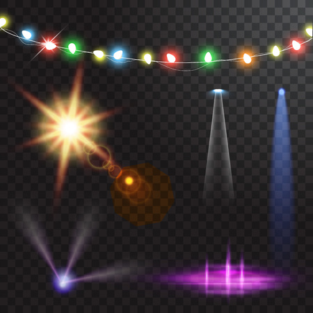 Abstract creative christmas garland light isolated on background. template. Vector illustration clipart art for Xmas holiday decoration. Concept idea design element. Realistic luminous bulb. Glow lamp Stock Photo