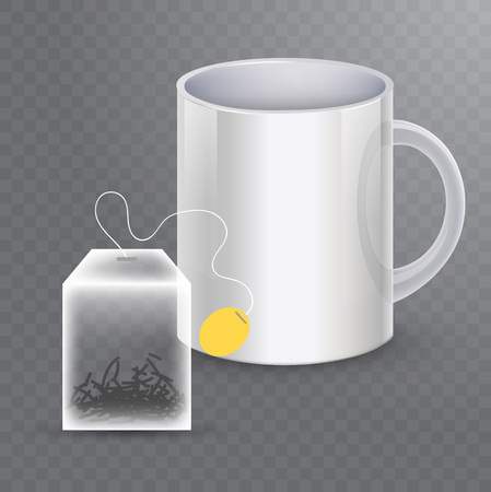 Vector image of a tea rectangular bag with the cup in realistic style. Template for ad, package.