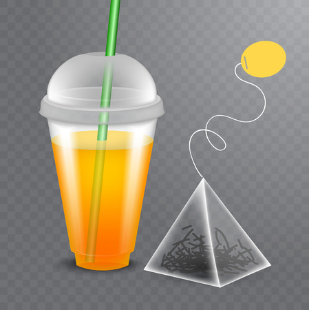Vector image of a tea bag with the plastic glass of tea in realistic style on transparent background. Template for ad, package.