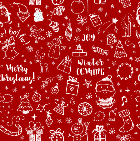 Seamless Doodles Christmas Pattern. Cartoon boundless background. Christmas tree and baubles, Santa sock, hat and beard, mistletoe, gifts, candy canes, snowman, swirls, gingerbread man, deer. Vector illustration