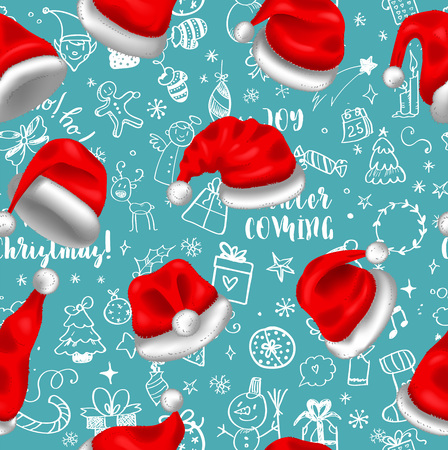 Colorful seamless pattern with red santa hats on blue background with doodles, for your christmas design. Vector illustration Ilustrace