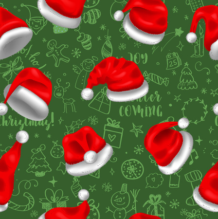 Colorful seamless pattern with red santa hats on green background with doodles, for your christmas design. Vector illustration