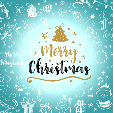 Christmas post card with doodles. Big set of Christmas design element in doodle style. Vector illustration.