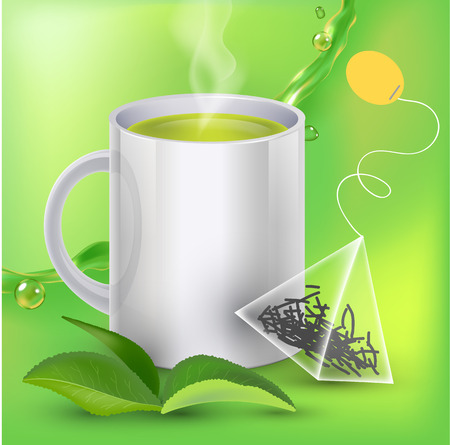 Green tea banner ads with tea leaves, green background with realistic splash of tea and tea bag in 3d illustration