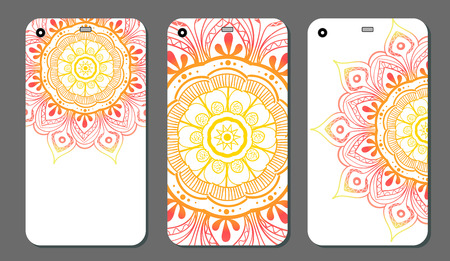 Phone case mandala design set. Vintage decorative elements. Hand drawn background. Islam, Arabic, Indian, ottoman motifs 矢量图像