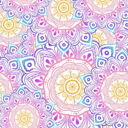 Nahtloses Mehrfarbenmuster mit orientalischen Mandalas. Hippie-Mandala-Muster. Kaleidoskop-Elemente. Stoff-, Tapeten- oder Wickeldruck