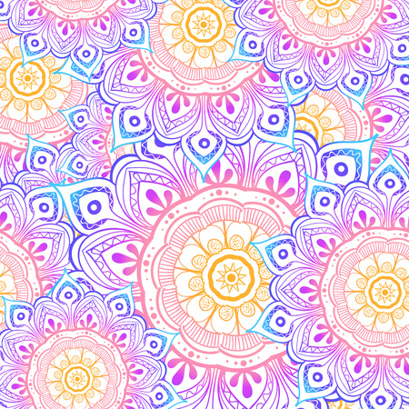 Seamless multicolor pattern with oriental mandalas. Hippie mandala pattern. Kaleidoscope elements. Fabric, wallpaper or wrap print Stock fotó