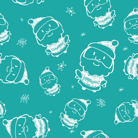 Hand drawn seamless pattern with Santa Claus. Doodle style. Design for textile, packaging or children, baby room interior. Christmas concept. Vector illustration. Illustration