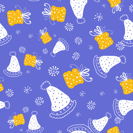 Seamless vector pattern. Doodle style seamless pattern with knitted hats and gift boxes on the white snowflakes background. Vector illustration