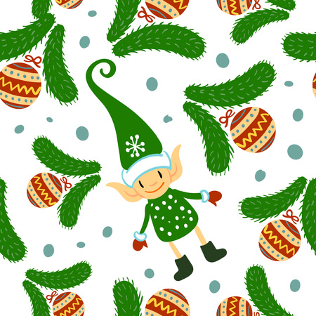 Christmas doodle elf seamless pattern on white background. Cute winter holidays background. Baby design for textile, fabric, decor. Vector illustration