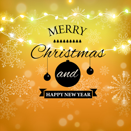 Merry Christmas gold glitter lettering design. Christmas greeting card, poster, banner. Golden glittering snow, snowflakes, white dots on black background. Çizim