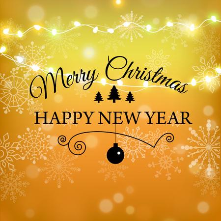 Merry Christmas gold glitter lettering design. Christmas greeting card, poster, banner. Golden glittering snow, snowflakes, white dots on black background. Ilustrace