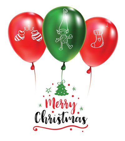 CHristmas post card with green and red balloons with doodles. Designed text. Festive callygraphy. Typograpgy poster. Doodle mitten, elf, sock. Realistic vector illustration Vettoriali