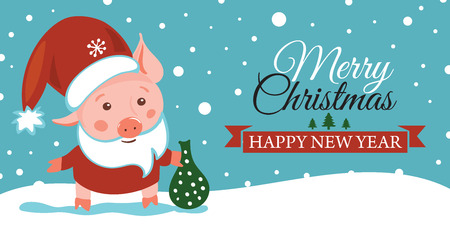 Sketching New year 2019 illustration, pig. Hand drawn logo, emblem, symbol of year, Christmas